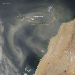 Satellite shot of Saharan dust blowing over the Canary Islands