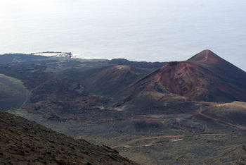 View from the San Antonio volcano, south towards Teneguía and the salt factory, Fuencaliente, La Palma island