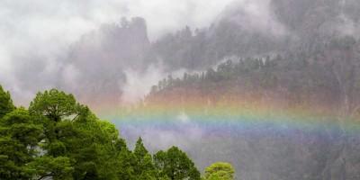 A rainbow from Las Chozas viewpoint, Caldera de Taburiente, La Palma