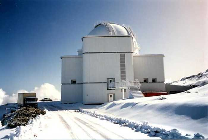 The Isaac Newton Telescope in the snow, Roque de Los Muchachos, Garafía, La Palma