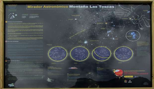 One of the information panels at Las Toscas viewpoint, Mazo