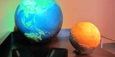 The scale models of the Earth and Mars