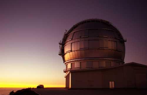 The huge Gran Telescopio Canarias  at sunset, Roque de los Muchachos observatory