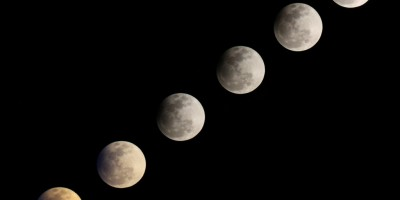 Multiple exposure of the partial lunar eclipse, 25/04/13Photo: Ana Garcia