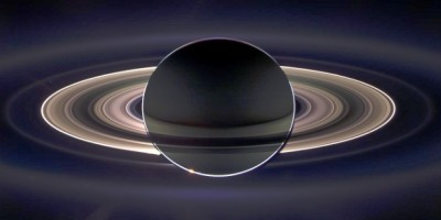 Saturn and its rings backlit, taken by NASA's Cassini mission on Sept. 15, 2006