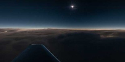 Solar eclipse seen from a plane