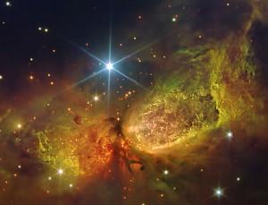 Stars being born inside a nebula