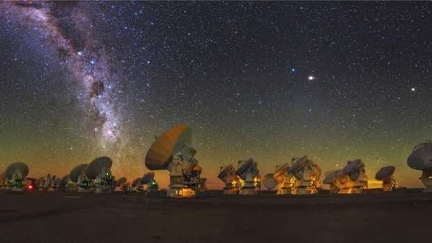 Alma's antennas in the Atacama Desert,  Chile at night.