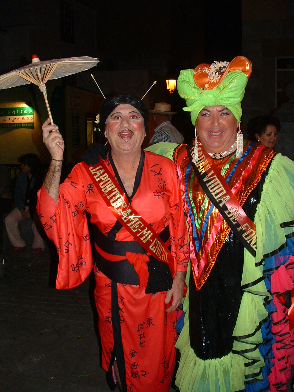 Two men dressed as geishas, Ambassador's Parade, Santa Cruz de La Palma, 2006