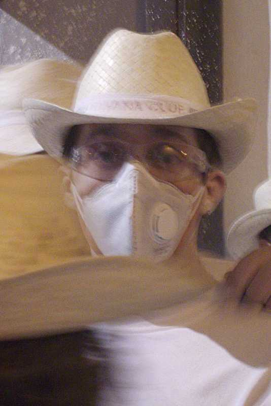 Man wearing a dust mask on his face at Los Indianos, Carnival, Santa Cruz de La Palma