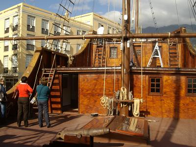 The deck of the Santa Maria, in Santa Cruz de la Palma