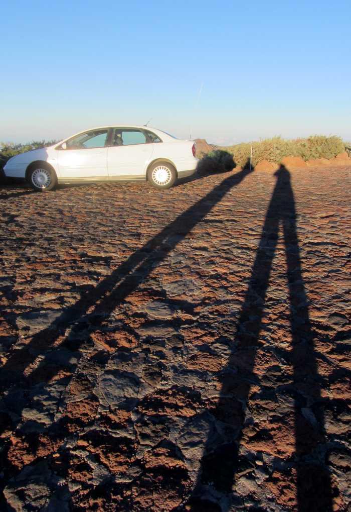 Long, leggy shadows at sunset, Roque de Los Muchachos car park