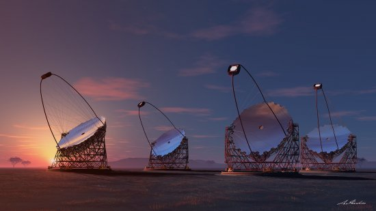 Artist´s representation of the four giant telescopes proposed for the CTA. Credits: IFAE, CTA Consortium.
