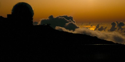 The William Herschel Telescope at sunset, Roque de los Muchachos observatory
