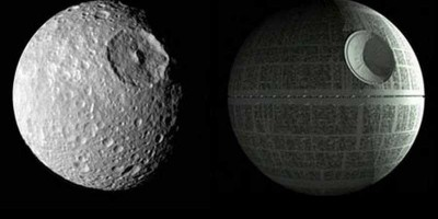 Saturn's moon Mimas and the Death Star from Star Wars