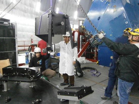 The HORS spectrograph being installed on the Nasmyth platform of GTC, Roque de Los Muchachos