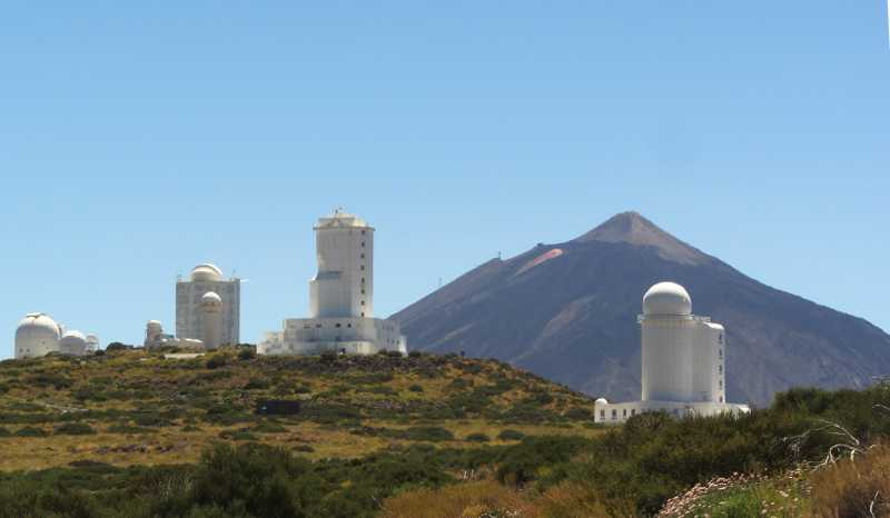 The Teide Observatory with Mt Teide behind.