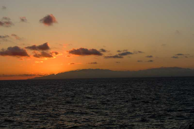 Sunset behind La Palma from the ferry.