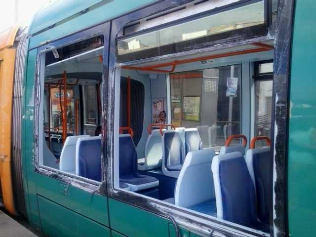 The damaged tram, seen from outside, Santa Cruz de Tenerife