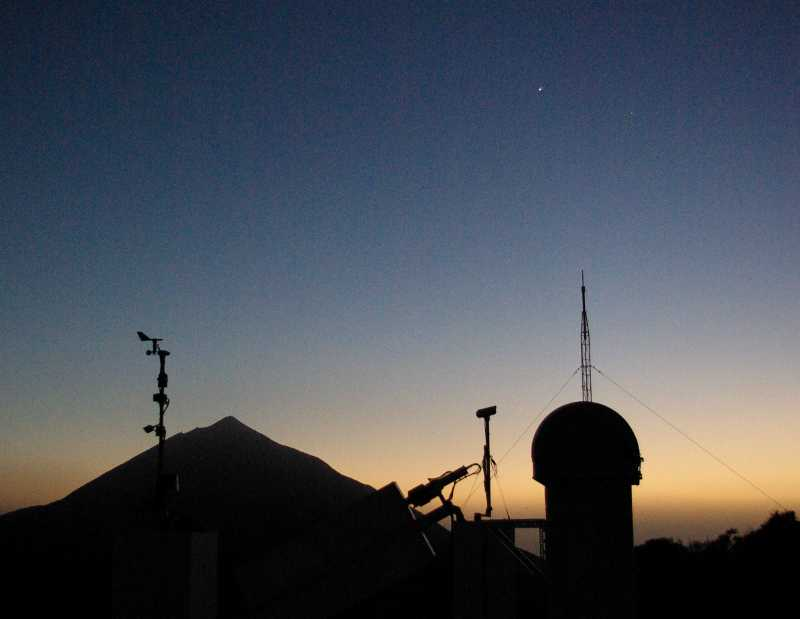 Mt Teide, a telescope at the Teide observatory, Tenerife, Venus and Jupiter