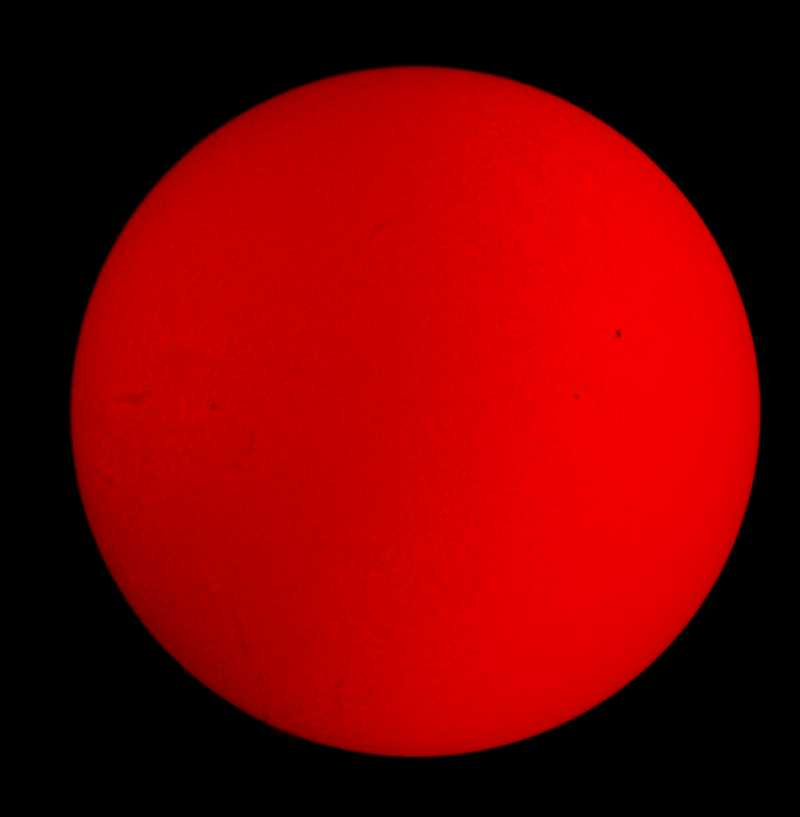 The sun in H-alpha, photographed by me.