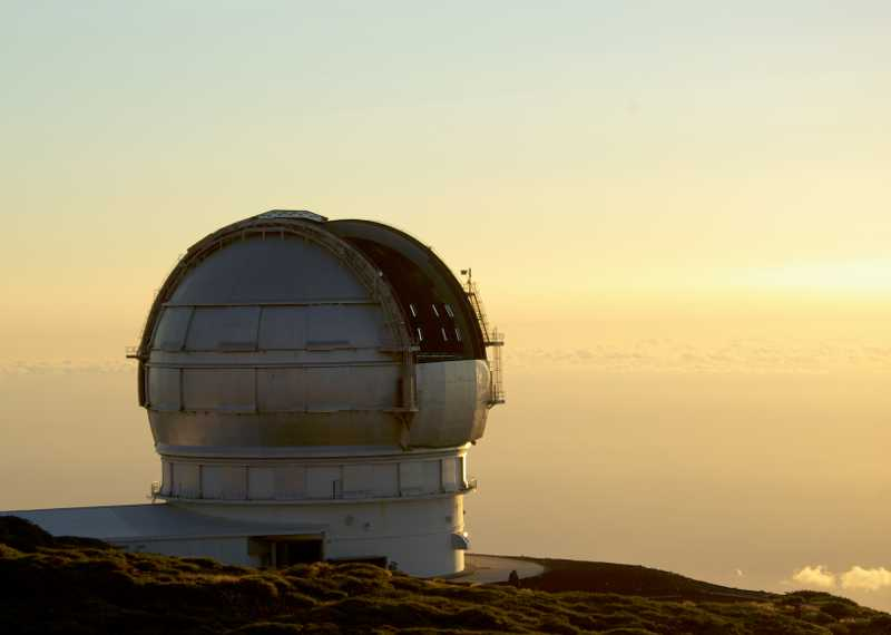 Gran Telescopio Canarias with the dome open, Roque de Los Muchachos observatory, La Palma