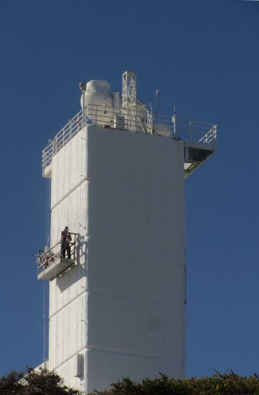 Painting the tower of the Swedish Solar Telescope, Roque de los Muchachos Observatory, La Palma