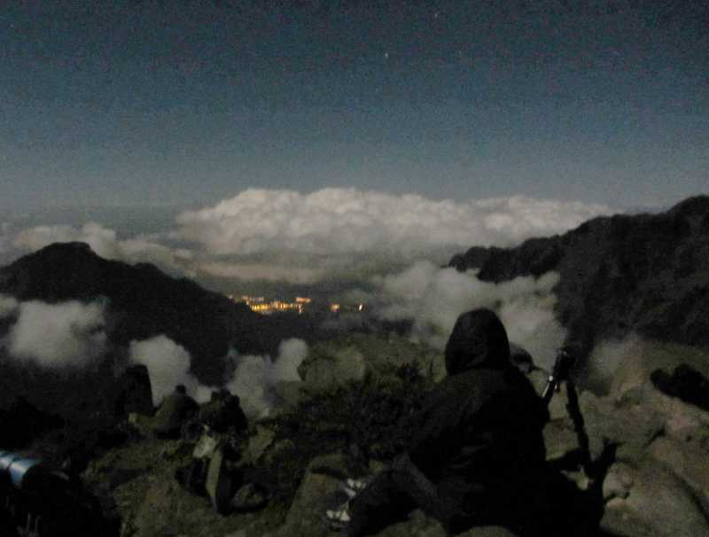 People in the moonlight at Pico de La Cruz, La Palma, waiting for the eclipse