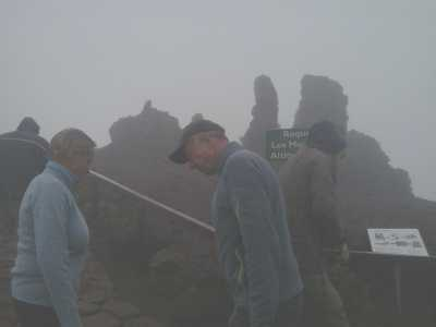 The Roque de Los Muchachos in the mist, La Palma, Canary Islands