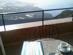 A cup of coffee and the view at El Time viewpoint