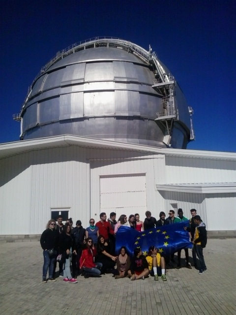 An international group of teenagers visiting GTC, Roque de Los Muchachos, La Palma