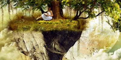 A girl under a tree on a floating island