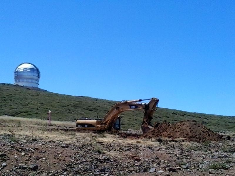 Digging foundations for the Large Size Telescope, Roque de Los Muchachos, La Palma