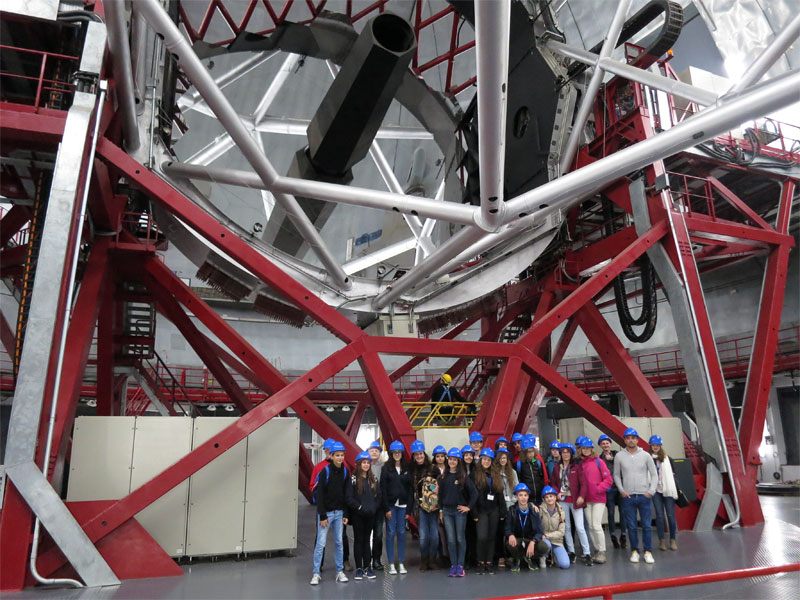 Erasmus exchange students in GTC, European Northern Observatory, Garafia, La Palma.