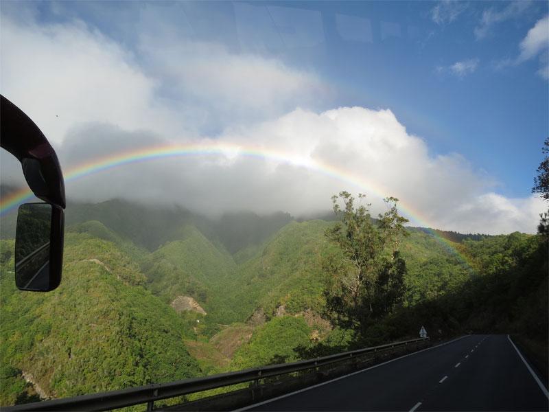 Rainbow on the way to the Cumbre tunnel, BrenaAlta, La Palma
