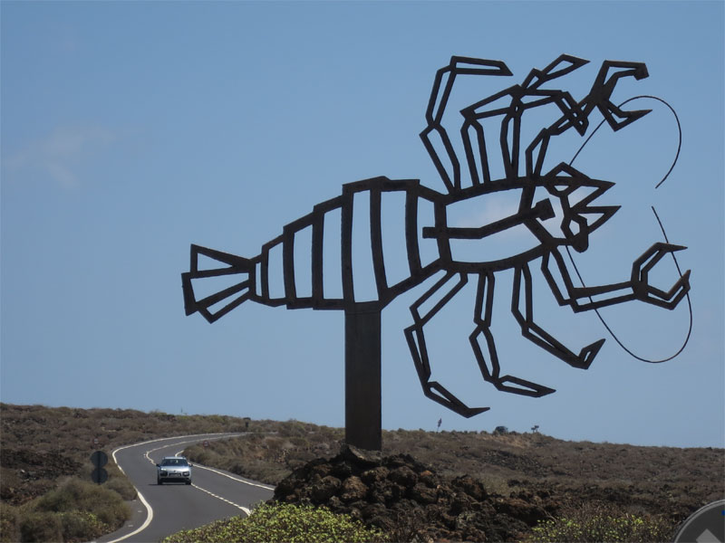 Metal statue of a lobster in Lanzarote.