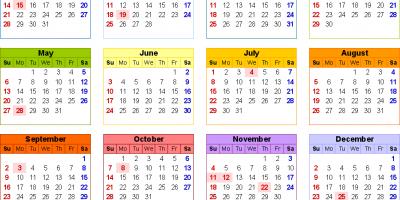 Calendar for 2018