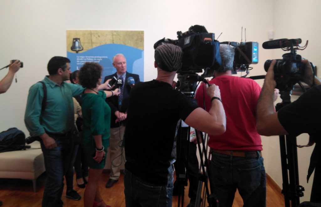The press conference at the exhibition for La Verdad