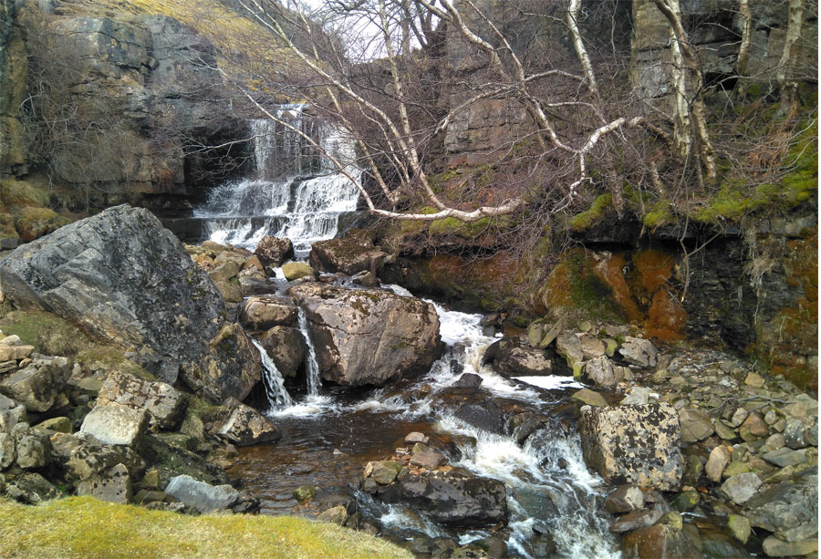 The waterfall above Muker, Swaledale.
