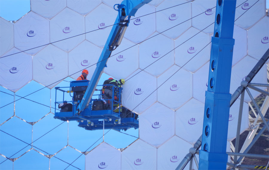 Covering up the mirror of the Large Size Telescope, Roque deLos Muchachos, LaPalma island